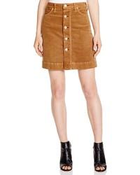 Falda con botones de pana marrón