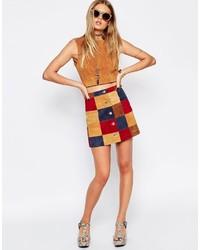Falda con botones de patchwork en multicolor de Asos