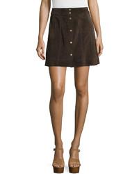 Falda con botones en marron oscuro original 11336952