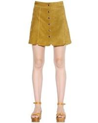 Falda con botones marrón claro