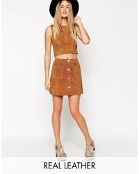 Falda con botones marrón claro de Asos