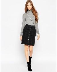 Falda con botones negra de Asos