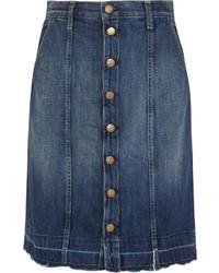 Falda con botones vaquera azul marino de Current/Elliott