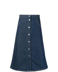 Falda con botones vaquera azul marino de MiH Jeans