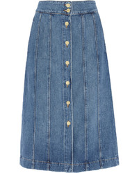 Falda con botones vaquera azul de Frame