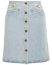 Falda con botones vaquera celeste de MiH Jeans