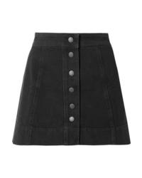 Falda con botones vaquera negra