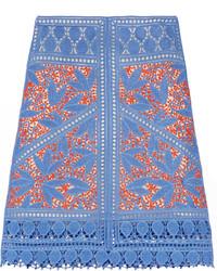 Falda de crochet azul de Tory Burch