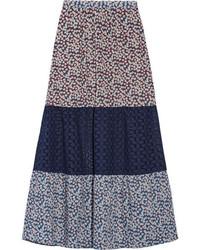 Falda de crochet con print de flores morado oscuro de Miguelina