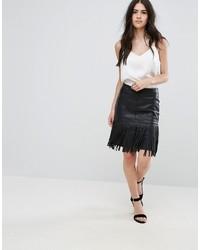 Falda de cuero сon flecos negra de Vila