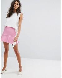 Falda de cuero rosa de Mango