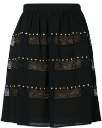 Falda de encaje con tachuelas negra de MICHAEL Michael Kors