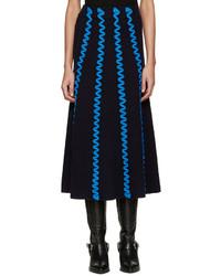 Falda de lana bordada azul marino de Kenzo