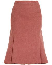 Falda de lana de pata de gallo roja de Balenciaga