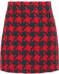 Falda de Lana de Pata de Gallo Roja de Gucci