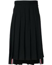 Falda de lana plisada negra de Thom Browne