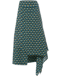 Falda de seda estampada en verde azulado de Marni