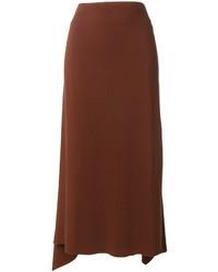 Falda de seda marrón de Jil Sander