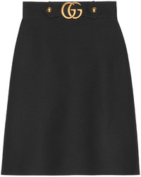 Falda de seda negra de Gucci