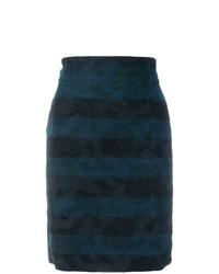 Falda lápiz bordada azul marino de Dolce & Gabbana Vintage