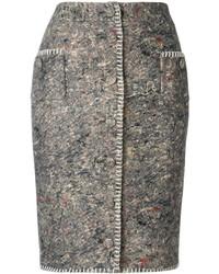 Falda lápiz bordada en gris oscuro de Moschino