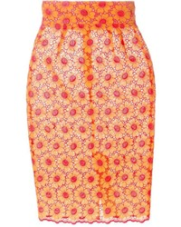 Falda lápiz con print de flores naranja