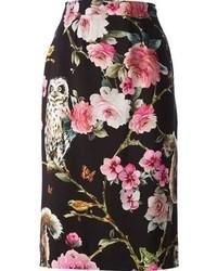 Falda lápiz con print de flores negra
