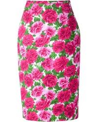 Falda lápiz con print de flores rosa de Michael Kors