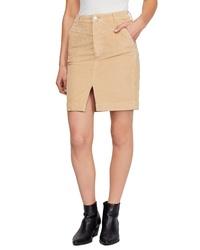 Falda lápiz con recorte marrón claro