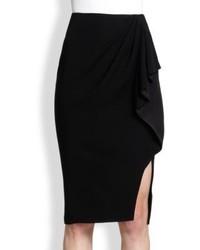 Falda lápiz con recorte negra