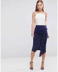 fa8cc7868 Comprar una falda lápiz con volante azul  elegir faldas lápiz con ...