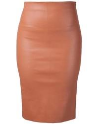 Falda lápiz de cuero marrón claro de Brunello Cucinelli