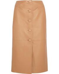 Falda lápiz de cuero marrón claro