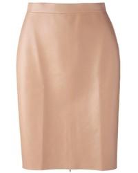 Falda lápiz de cuero marrón claro de MSGM