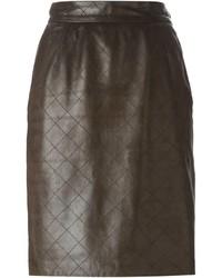 Falda lápiz de cuero marrón de Saint Laurent