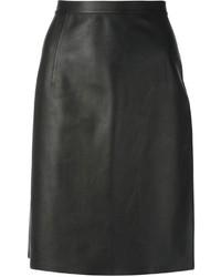 Falda lápiz de cuero negra de Alexander Wang