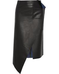 Falda lápiz de cuero negra de Balenciaga