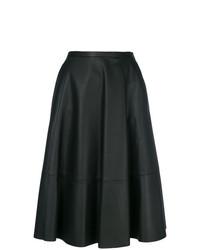 Falda lápiz de cuero negra de Drome