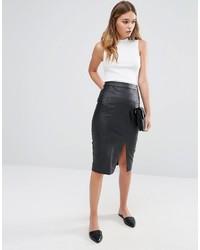 Falda lápiz de cuero negra de Oasis