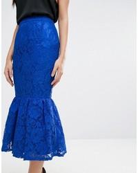 Falda Lápiz de Encaje Azul Marino de Asos