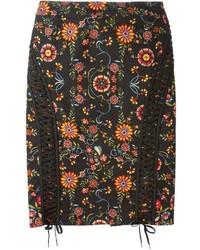 Falda Lápiz de Flores Negra de Christian Dior
