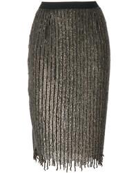 Falda lápiz de lentejuelas con adornos en gris oscuro de Aviu