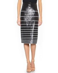 Falda lápiz de lentejuelas de rayas horizontales en negro y blanco