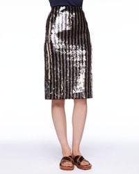 Falda lápiz de lentejuelas de rayas verticales en negro y dorado