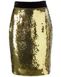 Falda lápiz de lentejuelas dorada de Moschino