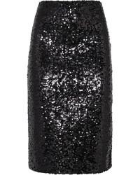 Falda lápiz de lentejuelas negra