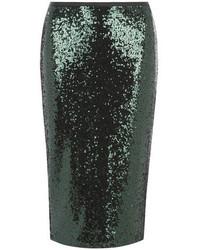Falda Lápiz de Lentejuelas Verde Oscuro