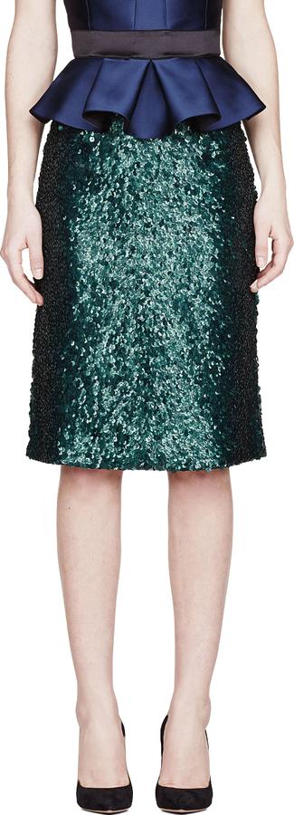 44f49949a Falda lápiz de lentejuelas verde oscuro de Burberry