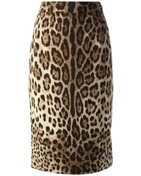 Falda lápiz de leopardo marrón claro