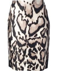 Falda lápiz de leopardo marrón claro de Diane von Furstenberg